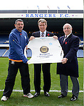 Rangers promote the 140 year anniversary of the founding of the football club:.Charlie Miller, Sandy Jardine and Willie Henderson