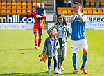 St Johnstone v Ross County…12.05.18…  McDiarmid Park    SPFL<br />Chris Millar with daughters Sophia and Ellie and Alan Mannus and son Mason apllud the fans<br />Picture by Graeme Hart. <br />Copyright Perthshire Picture Agency<br />Tel: 01738 623350  Mobile: 07990 594431