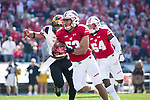 Wisconsin Badgers linebacker T.J. Edwards (53) returns an interception for a touchdown during an NCAA Big Ten Conference football game against the Maryland Terrapins Saturday, October 21, 2017, in Madison, Wis. The Badgers won 38-13. (Photo by David Stluka)