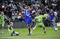 L-R Freddie Ljungberg, Jimmy Conrad, Osvaldo Alonso...Kansas City Wizards were defeated 3-2 by Seattle Sounders at Community America Ballpark, Kansas City, Kansas.