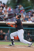 Jeff Gelalich #15 of the Bakersfield Blaze bats against the Inland Empire 66ers at San Manuel Stadium on August 21, 2014 in San Bernardino, California. Bakersfield defeated Inland Empire, 4-0. (Larry Goren/Four Seam Images)