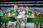 Jonathan Lyne, James O'Donoghue and Brian Kelly. Kerry players celebrate their victory over Donegal in the All Ireland Senior Football Final in Croke Park Dublin on Sunday 21st September 2014.