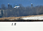 Ice skaters on Rose Valley Lake, Lycoming County, PA.