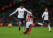 9th December 2017, Wembley Stadium, London England; EPL Premier League football, Tottenham Hotspur versus Stoke City; Kurt Zouma of Stoke City intercepts Dele Alli of Tottenham Hotspur