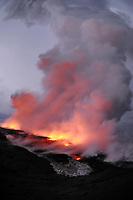 Sunrise, Lava flow at the Waikupanaha ocean entry, Hawaii, Big Island of Hawaii