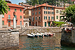 Ferry stop and docks of Torno, a town north of Como on Lake Como, Italy