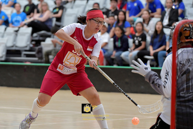 Singapore's Shannon Yeo in action during the World Floorball Championships 2017 Qualification for Asia Oceania Region - Singapore v Thailand at ASB Sports Centre , Wellington, New Zealand on Sunday 5 February 2017.<br /> Photo by Masanori Udagawa<br /> www.photowellington.photoshelter.com.