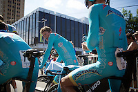 Jakob Fuglsang (DEN/Astana) &amp; teammates after the TTT<br /> <br /> Elite Men&rsquo;s Team Time Trial<br /> UCI Road World Championships Richmond 2015 / USA