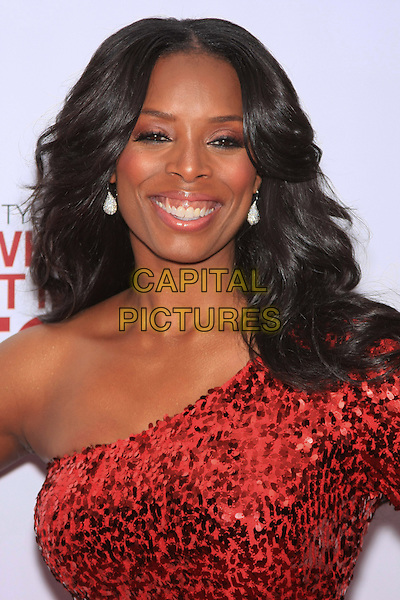 "TASHA SMITH .attending the Special New York Screening of ""Why Did I Get Married Too?"" held at the School of Visual Arts Theater, New York, NY,.March 22nd, 2010..portrait headshot earrings red one shoulder smiling sequined sequin .CAP/LNC/TOM.©LNC/Capital Pictures."
