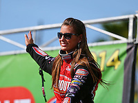 Mar 16, 2014; Gainesville, FL, USA; NHRA top fuel driver Leah Pritchett during the Gatornationals at Gainesville Raceway Mandatory Credit: Mark J. Rebilas-USA TODAY Sports