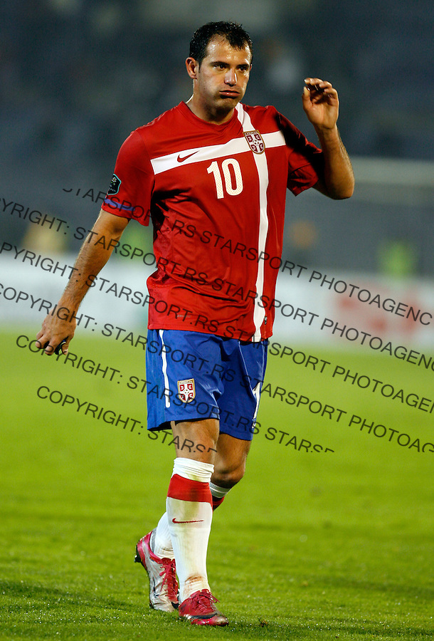 Dejan Stankovic of Serbia reacts  reacts after UEFA Euro 2012 group C qualifying match Serbia vs Estonia  in Belgrade Friday, October 8, 2010.  (credit & photo: Pedja Milosavljevic / +381 64 1260 959 / thepedja@gmail.com)