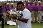 Pablo Larrazabal celebrates with the trophy at the 2008 Open de France ALSTOM, Le Golf National, Paris, France - 29th June 2008 (Photo by Manus O'Reilly/GOLFFILE)