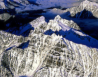 Aerial view of rugged mountain peaks during winter in the North Cascades  Range, Washington State