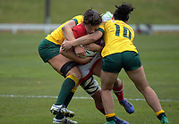 Amanda Thornborough is tackled during the 2017 International Women's Rugby Series rugby match between Canada and Australia Wallaroos at Smallbone Park in Rotorua, New Zealand on Saturday, 17 June 2017. Photo: Dave Lintott / lintottphoto.co.nz