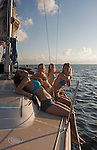 A female sailboat crew
