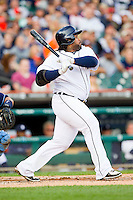 Prince Fielder (28) of the Detroit Tigers follows through on his swing against the Tampa Bay Rays at Comerica Park on June 4, 2013 in Detroit, Michigan.  The Tigers defeated the Rays 10-1.  Brian Westerholt/Four Seam Images