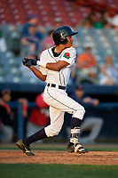 Connecticut Tigers shortstop Jose King (48) follows through on a swing during a game against the Lowell Spinners on August 26, 2018 at Dodd Stadium in Norwich, Connecticut.  Connecticut defeated Lowell 11-3.  (Mike Janes/Four Seam Images)