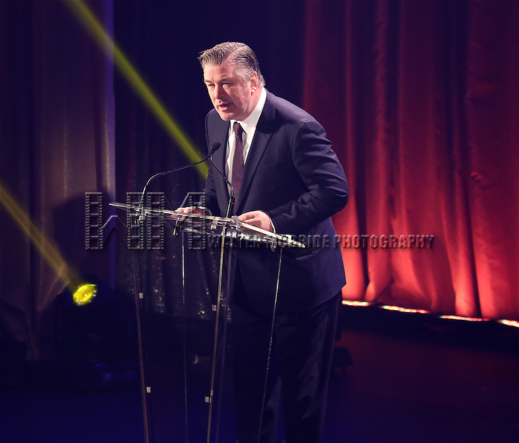 Alec Baldwin onstage during the Roundabout Theatre Company's  50th Anniversary Gala at The Waldorf-Astoria on February 29, 2016 in New York City.
