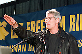 Washington, DC - October 29, 1997 -- Actor Richard Gere acknowledges cheers at a rally against religious persecution in China in Lafayette Park across from The White House in Washington, D.C. on October 29, 1997.  The protest coincided with the visit of President Jiang Zemin of China to the White House..Credit: Ron Sachs / CNP