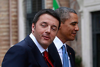 Il Presidente del Consiglio Matteo Renzi accoglie il Presidente degli Stati Uniti Barack Obama a Villa Madama, Roma, 27 marzo 2014.<br /> Italian Premier Matteo Renzi welcomes U.S President Barack Obama at Villa Madama, Rome, 27 March 2014.<br /> UPDATE IMAGES PRESS/Isabella Bonotto