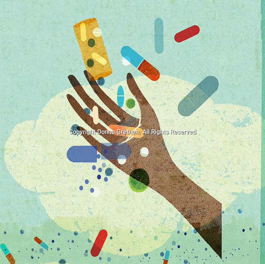 Hand reaching out for lots of falling pills