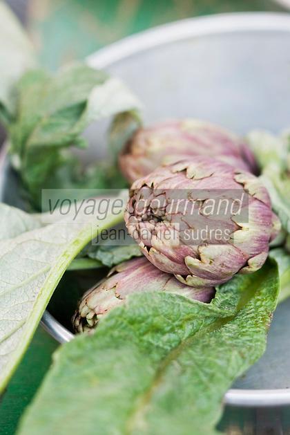 Europe/France/Provence-Alpes-Côte d'Azur/06/Alpes-Maritimes/Nice: Artichauts petis violets  sur le marché du Cours Saleya