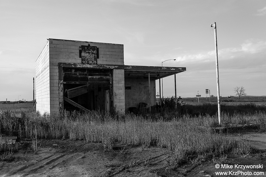 Abandoned gas station in Roggen, CO