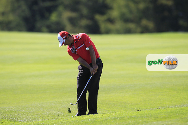 Felipe AGUILAR (CHI) chips onto the 15th green during Saturday's Round 3 of the 2014 Omega European Masters held at the Crans Montana Golf Club, Crans-sur-Sierre, Switzerland.: Picture Eoin Clarke, www.golffile.ie: 6th September 2014