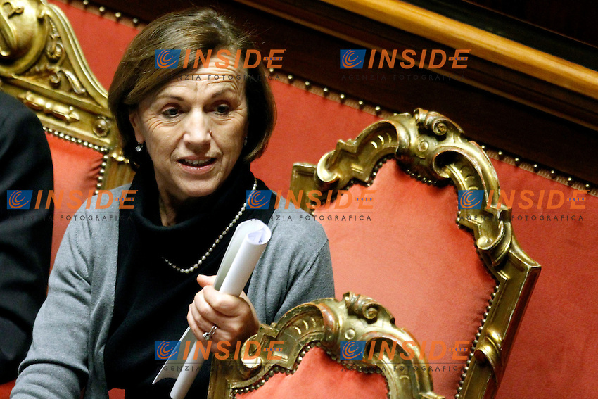 IL MINISTRO DEL WELFARE ELSA FORNERO.Roma 22/12/2011 Senato. Voto di Fiducia sulla Manovra Economica.Votation at Senate about austerity plan. .Photo Samantha Zucchi Insidefoto