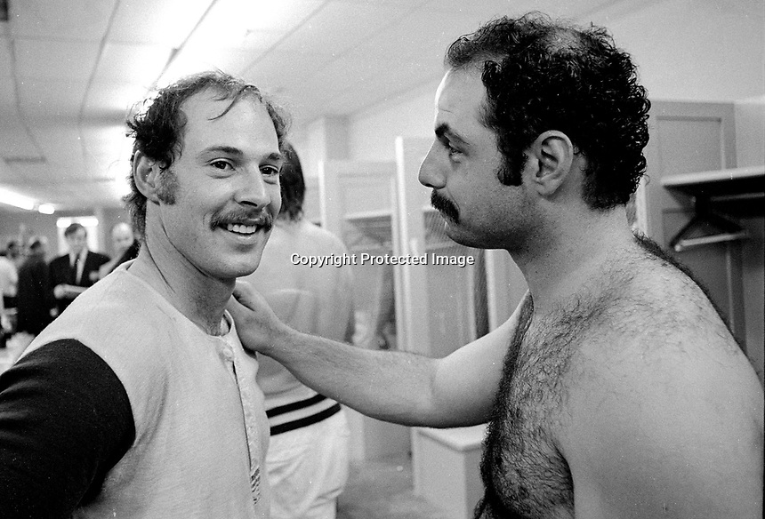 World Series MVP Gene Tenace and 3rd baseman Sal Bando in the Cincinnati dressing room after beating the Reds in the 1972 Series. (photo/Ron Riesterer)