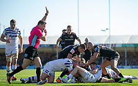 Exeter Chiefs' Ollie Devoto scores his sides first try<br /> <br /> Photographer Bob Bradford/CameraSport<br /> <br /> Premiership Rugby Cup - Exeter Chiefs v Bath Rugby - Sunday 24th March 2019 - Sandy Park - Exeter<br /> <br /> World Copyright © 2018 CameraSport. All rights reserved. 43 Linden Ave. Countesthorpe. Leicester. England. LE8 5PG - Tel: +44 (0) 116 277 4147 - admin@camerasport.com - www.camerasport.com