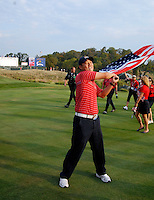 Anthony Kim with flag aloft walks up the 18th fairway after victory over Europe after the Singles on the Final Day of the Ryder Cup at Valhalla Golf Club, Louisville, Kentucky, USA, 21st September 2008 (Photo by Eoin Clarke/GOLFFILE)