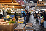 October 6, 2018, Tokyo, Japan - Tokyos iconic Tsukiji fish market, one of the worlds largest wholesale market, closes its 83 years of history on Saturday, October 6, 2018. The market moves from its current location just a few blocks from the worlds famous Ginza shopping district to a new site set to open its door on October 11. On a typical day, about 1628 tons of seafood pass through Tsukiji, which first opened in 1935 and expanded after World War II. (Photo by Natsuki Sakai/AFLO) AYF -mis-