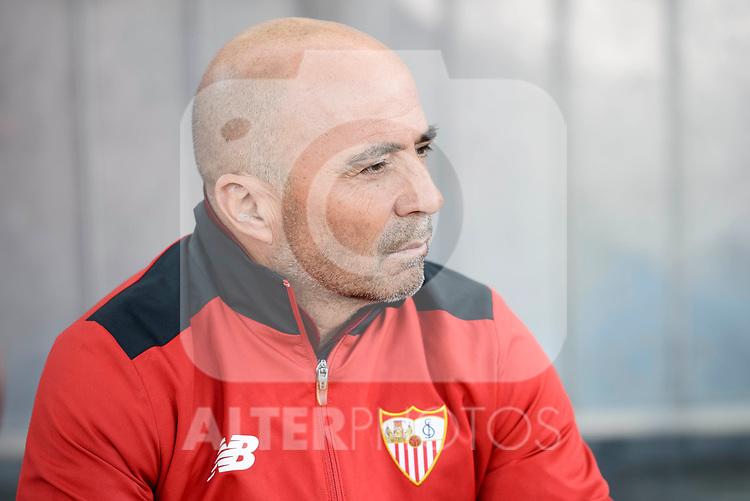 Sevilla's coach Jorge Sampaoli during La Liga match between Atletico de Madrid and Sevilla CF at Vicente Calderon Stadium in Madrid, Spain. March 19, 2017. (ALTERPHOTOS/BorjaB.Hojas)