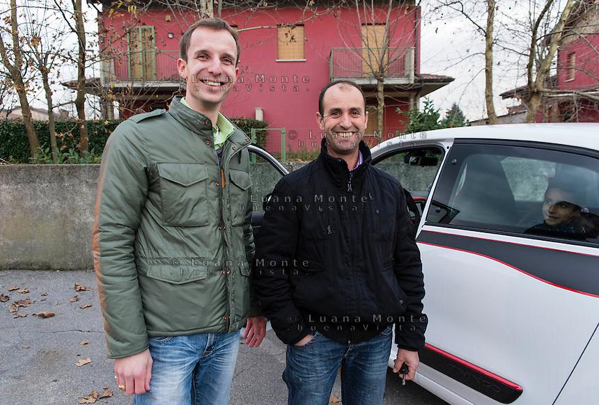 Andrea Capelletti sindaco di Covo con Aziz, suo amico e concittadino.  Covo (BG), 12 dicembre, 2014