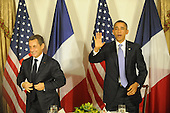 United States President Barack Obama meets President Nicolas Sarkozy of France at the Waldorf Astoria Hotel in New York, New York on Wednesday, September 21, 2011 ..Credit: Aaron Showalter / Pool via CNP