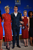 Sharon Stone, Garrett Hedlund &amp; Kristen Bell at the nominations announcement for the 75th Annual Golden Globe Awards at The Beverly Hilton Hotel, Beverly Hills, USA 11 Dec. 2017<br /> Picture: Paul Smith/Featureflash/SilverHub 0208 004 5359 sales@silverhubmedia.com