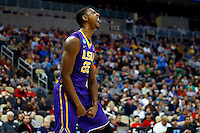 PITTSBURGH, PA - MARCH 19:  Jordan Mickey #25 of the LSU Tigers reacts after a play against the North Carolina State Wolfpack during the second round of the 2015 NCAA Men's Basketball Tournament at Consol Energy Center on March 19, 2015 in Pittsburgh, Pennsylvania.  (Photo by Jared Wickerham/Getty Images)