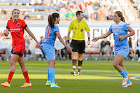 Bridgeview, IL - Sunday June 12, 2016: Christen Press, Sofia Huerta during a regular season National Women's Soccer League (NWSL) match between the Chicago Red Stars and the Portland Thorns at FC Toyota Park.