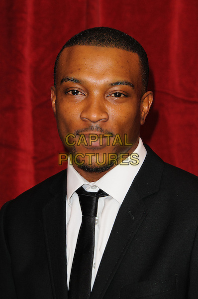 Ashley Walters.British Soap Awards 2012, The London Television Centre, London, England..28th April 2012.headshot portrait black white tie facial hair .CAP/CJ.©Chris Joseph/Capital Pictures.