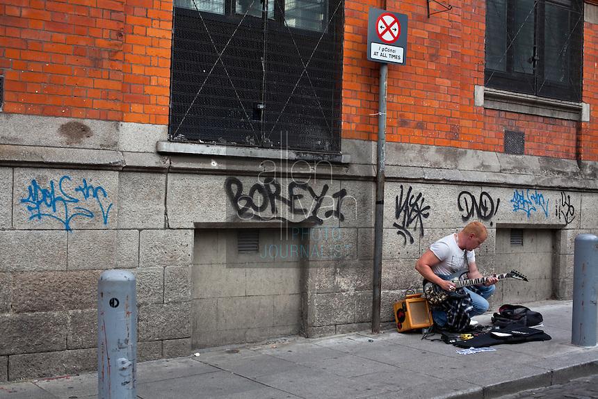 A street musician in Dublin, Ireland, August 2010.