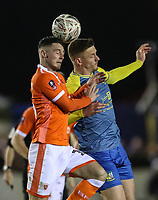 Blackpool's Jordan Thompso competing with Solihull Moors' Kyle Storer<br /> <br /> Photographer Andrew Kearns/CameraSport<br /> <br /> The Emirates FA Cup Second Round - Solihull Moors v Blackpool - Friday 30th November 2018 - Damson Park - Solihull<br />  <br /> World Copyright © 2018 CameraSport. All rights reserved. 43 Linden Ave. Countesthorpe. Leicester. England. LE8 5PG - Tel: +44 (0) 116 277 4147 - admin@camerasport.com - www.camerasport.com
