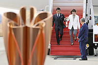 20th March 2020, Miyagi, Tohoku Region, Japan, Olympic gold medalists Tadahiro Nomura and Saori Yoshida present the Olympic torch during the Olympic flame arrival ceremony in Miyagi of Japan, on March 20, 2020. The Olympic flame arrived in Japan on March 20.