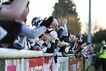 Grimsby Town fans during the Vanamara Conference League match between Woking and Grimsby Town at the Kingfield Stadium, Woking, Surrey<br /> Picture by David Horn/eXtreme aperture photography +44 7545 970036<br /> 07/03/2015