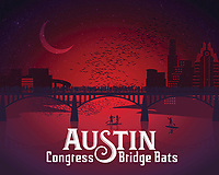 Austin Congress Bridge Bats in red silhouette fine art print. Each night 1.5 million Mexican free-tailed bats that roost under the Ann W. Richards Congress Avenue Bridge take flight