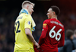 Trent Alexander-Arnold of Liverpool speaks to Aaron Ramsdale of Bournemouth after the Premier League match at Anfield, Liverpool. Picture date: 7th March 2020. Picture credit should read: Darren Staples/Sportimage