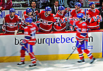13 December 2008: The Montreal Canadiens bench celebrate Montreal's lone goal of he evening in the second period against the Washington Capitals at the Bell Centre in Montreal, Quebec, Canada. The Capitols defeated the Canadiens 2-1. ***** Editorial Sales Only ***** Mandatory Photo Credit: Ed Wolfstein Photo