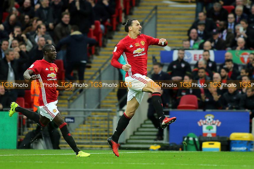 Zlatan Ibrahimovic celebrates scoring Manchester United's opening goal during Manchester United vs Southampton, EFL Cup Final Football at Wembley Stadium on 26th February 2017