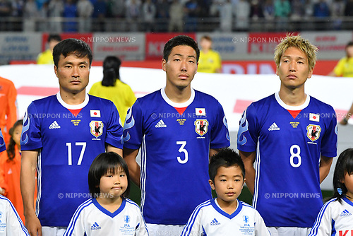 (L-R) Yasuyuki Konno, Gen Shoji, Genki Haraguchi (JPN), <br /> JUNE 7, 2017 - Football / Soccer : <br /> KIRIN Challenge Cup 2017 match <br /> between Japan 1-1 Syria <br /> at Ajinomoto Stadium in Tokyo, Japan. <br /> (Photo by AFLO)