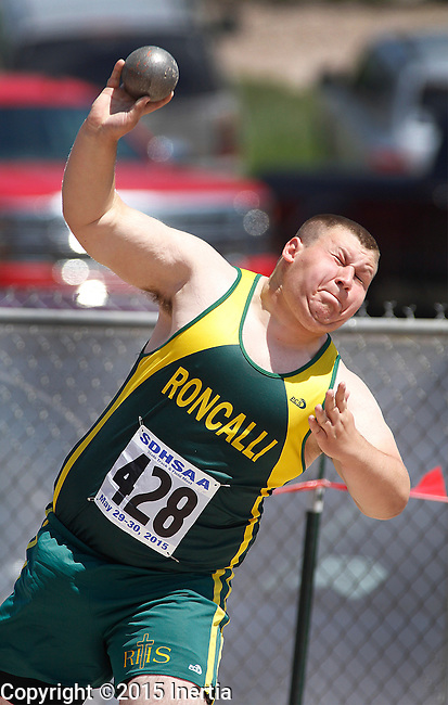 RAPID CITY, SD - MAY 30: Collin Hilzendeger #428 of Abedeen Rocalli throws the shot in the boys class A division during the 2015 SDHSAA State Track & Field Meet Saturday at O'Harra Stadium in Rapid City, S.D. (Photo by Dick Carlson/Inertia)